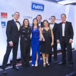 WINNER - INNOVATION AWARD (Sponsored by Cobra Insurance) ALTRO for Quickcure Extra (L-R) Mark Spowage (FeRFA CEO), Justine McDonnell (Altro), Heloysa Remoaldo (Altro), Howard Collins (Cobra Insurance), Alison Bishop (Altro), Rob Walker (Altro), Kyran Bracken